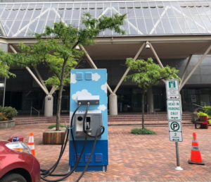 First stop: Charging up on Electric Avenue in downtown Portland, Ore., courtesy of PGE.